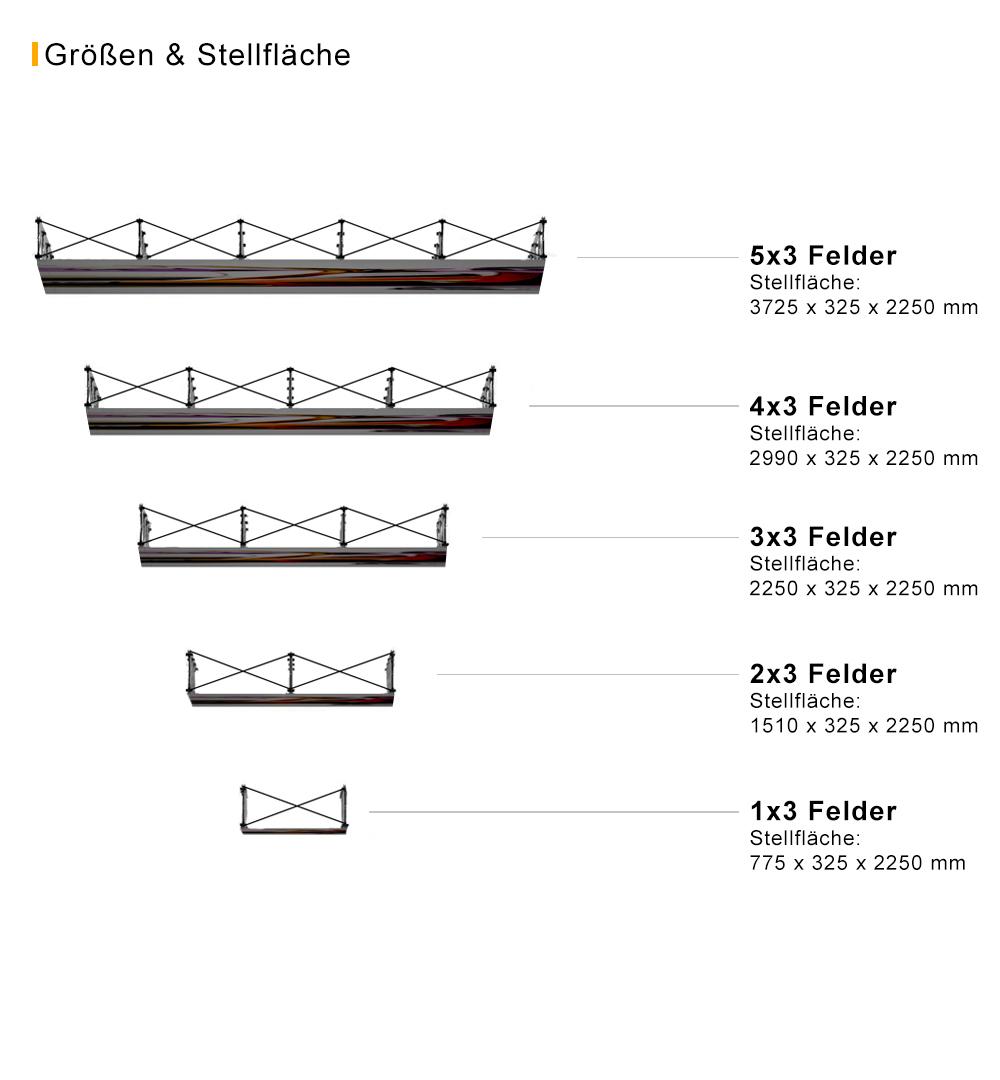 Faltdisplay Cologne PREMIUM gebogen -  Stellfläche