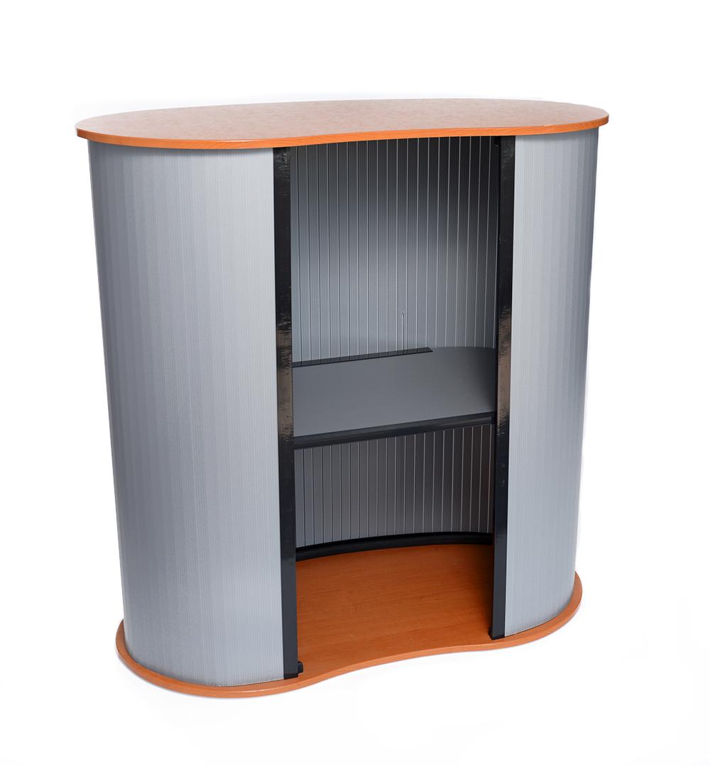 Countertheke Easy - Lamellengestell mit Zwischenboden und Thekenplatte