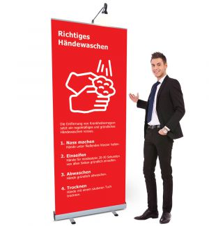 Roll Up Budget mit COVID-19 Druck rot