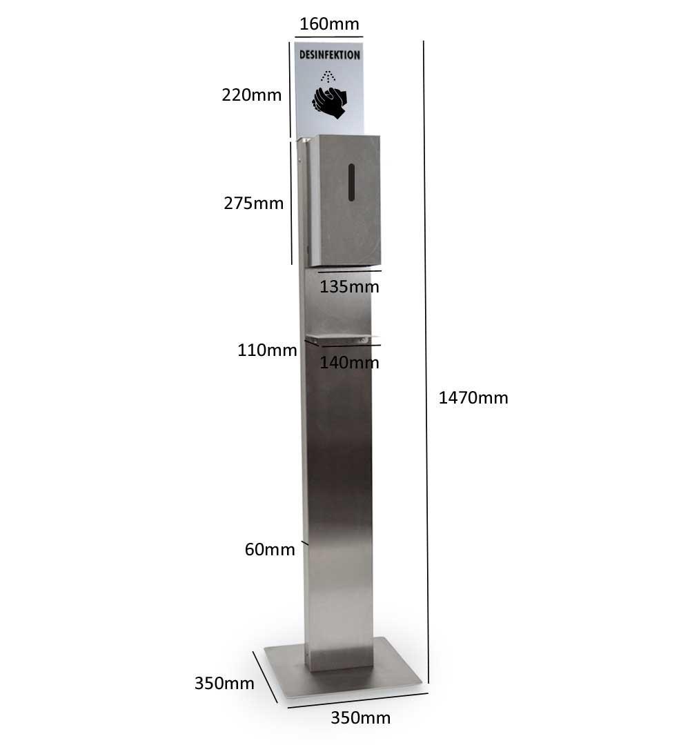Desinfektionsständer Steel mit Sensor Maße