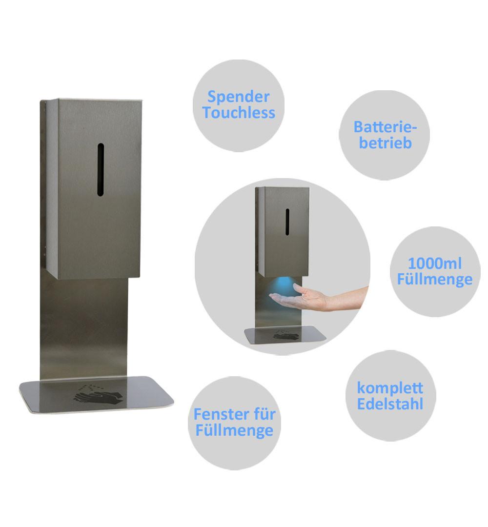 Desinfektionsständer Steel für Tisch & Tresen Vorteile