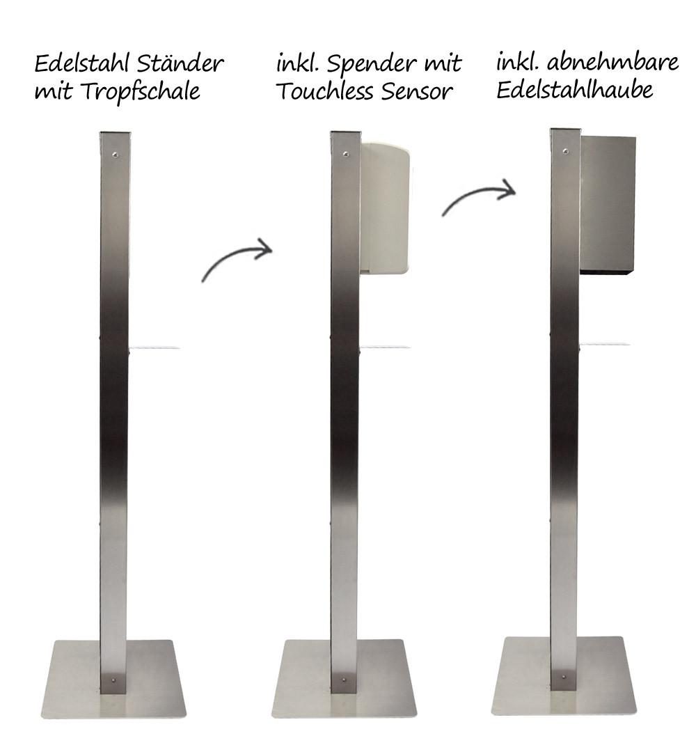 Desinfektionsständer Steel mit Sensor Schale