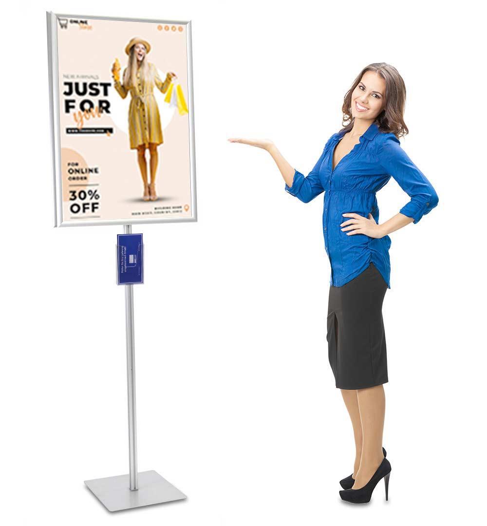 Plakatständer Shop Prospekthalter DIN lang einfach - live
