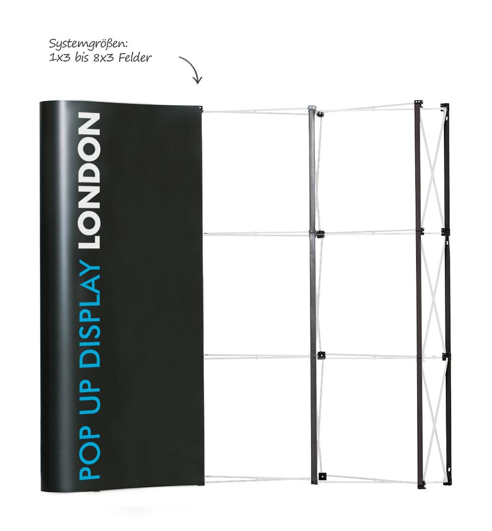 Faltdisplay London Premium gebogen - Systemgrößen