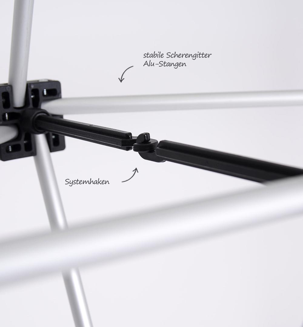 Mobiler Messestand - Faltdisplay London PREMIUM Scherengitter Detail