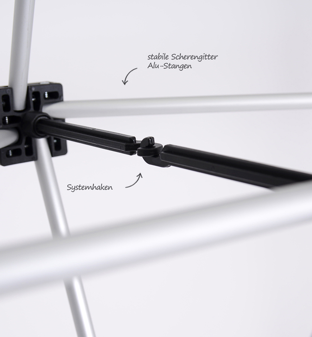 Faltdisplay London Premium gebogen - Scherengittersystem mit Systemhaken