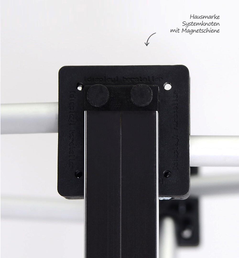 Faltdisplay London Premium gebogen - Systemknoten mit Magnetschiene