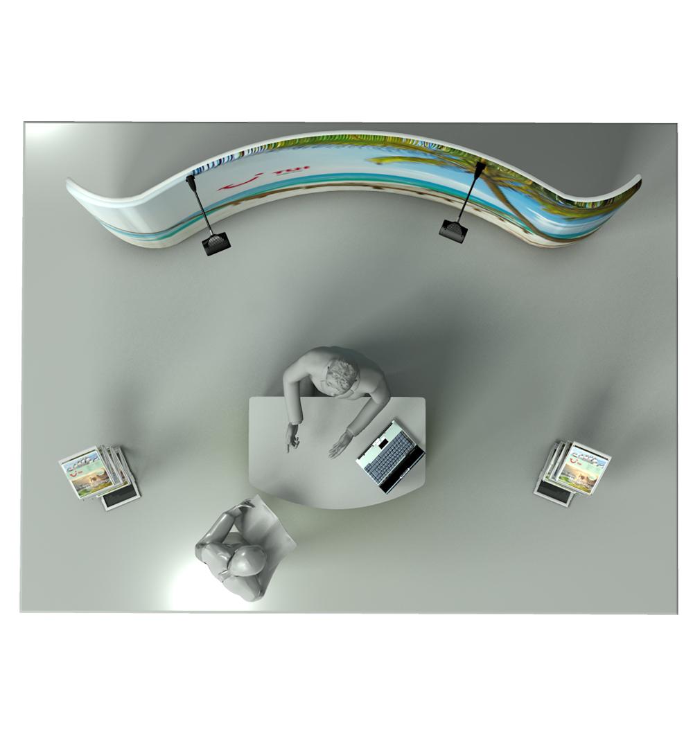 Messestand Faltwand Textil Evolution Set 001 - Draufsicht