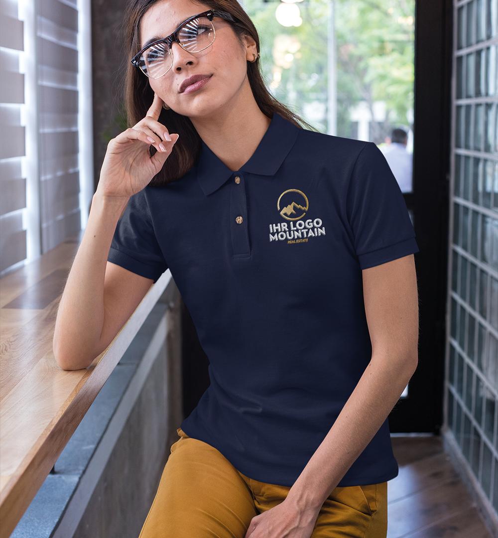 Team Polo Shirt Logo Print - Damen