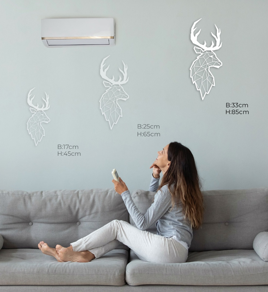 Wall Art Acryl Polygon Deer Side View