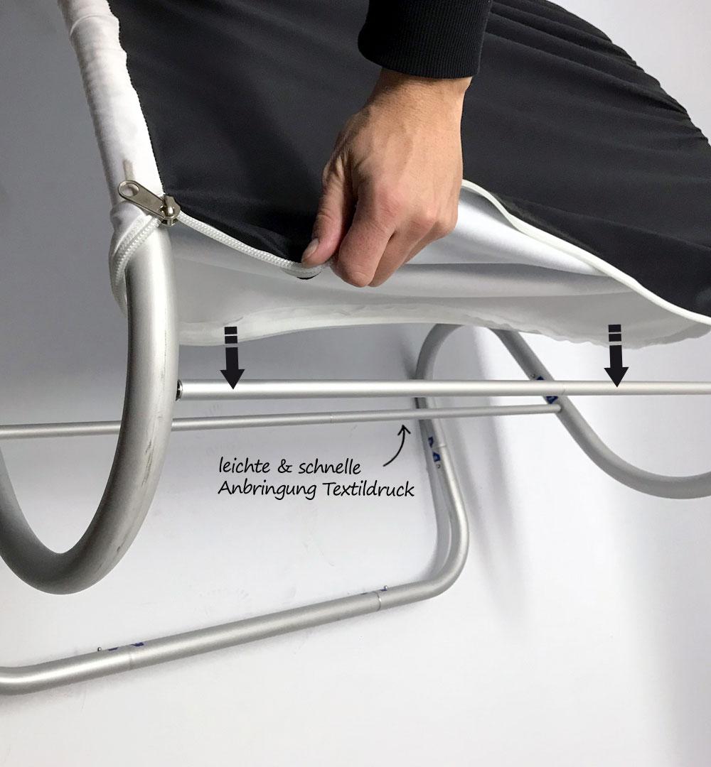 Messestand Faltwand Textil Evolution - Anbringung Textildruck
