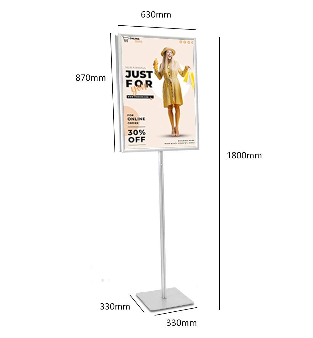 Plakatständer Shop - Maße