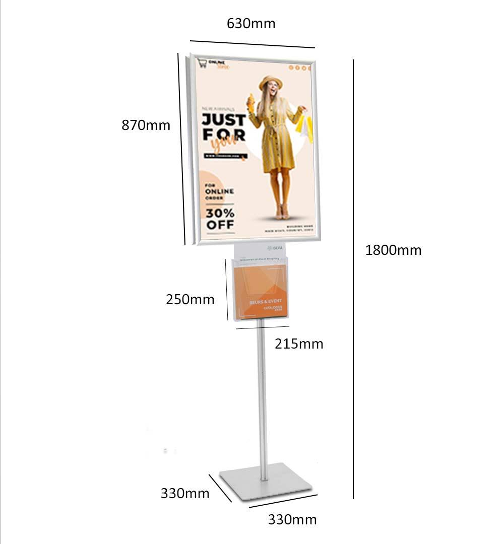 Plakatständer Shop Prospekthalter A4 einfach - Maße