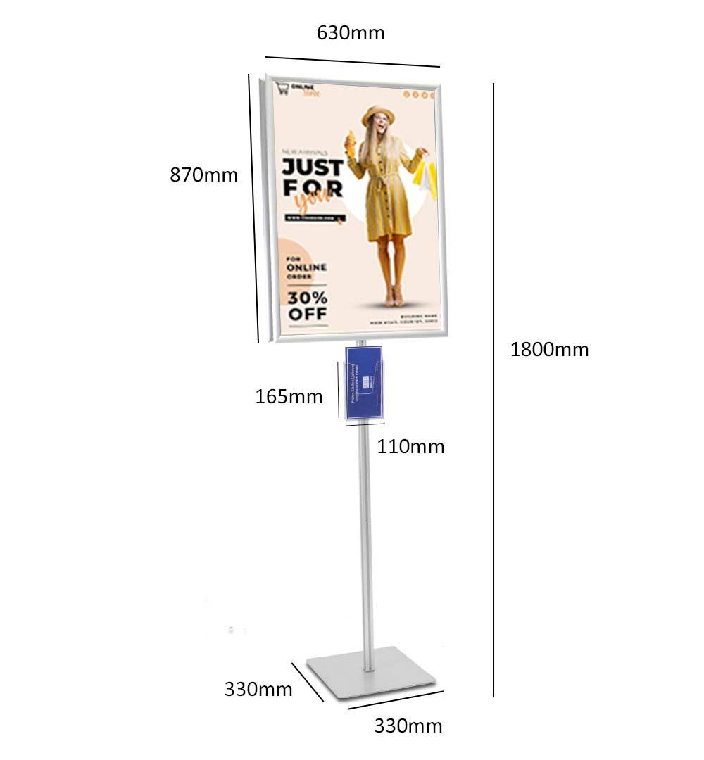 Plakatständer Shop Prospekthalter DIN lang einfach - Maße