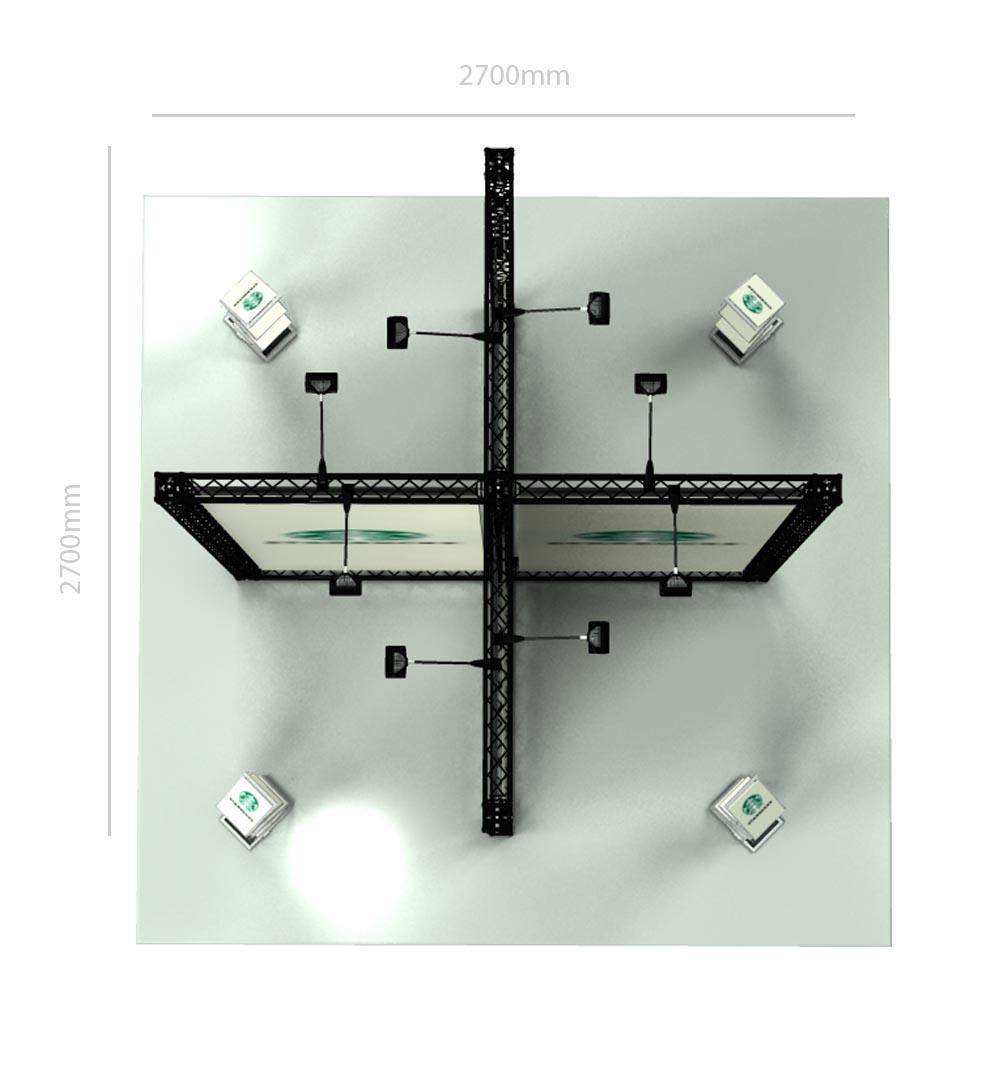 Messestand Traverse X3 Form - Draufsicht