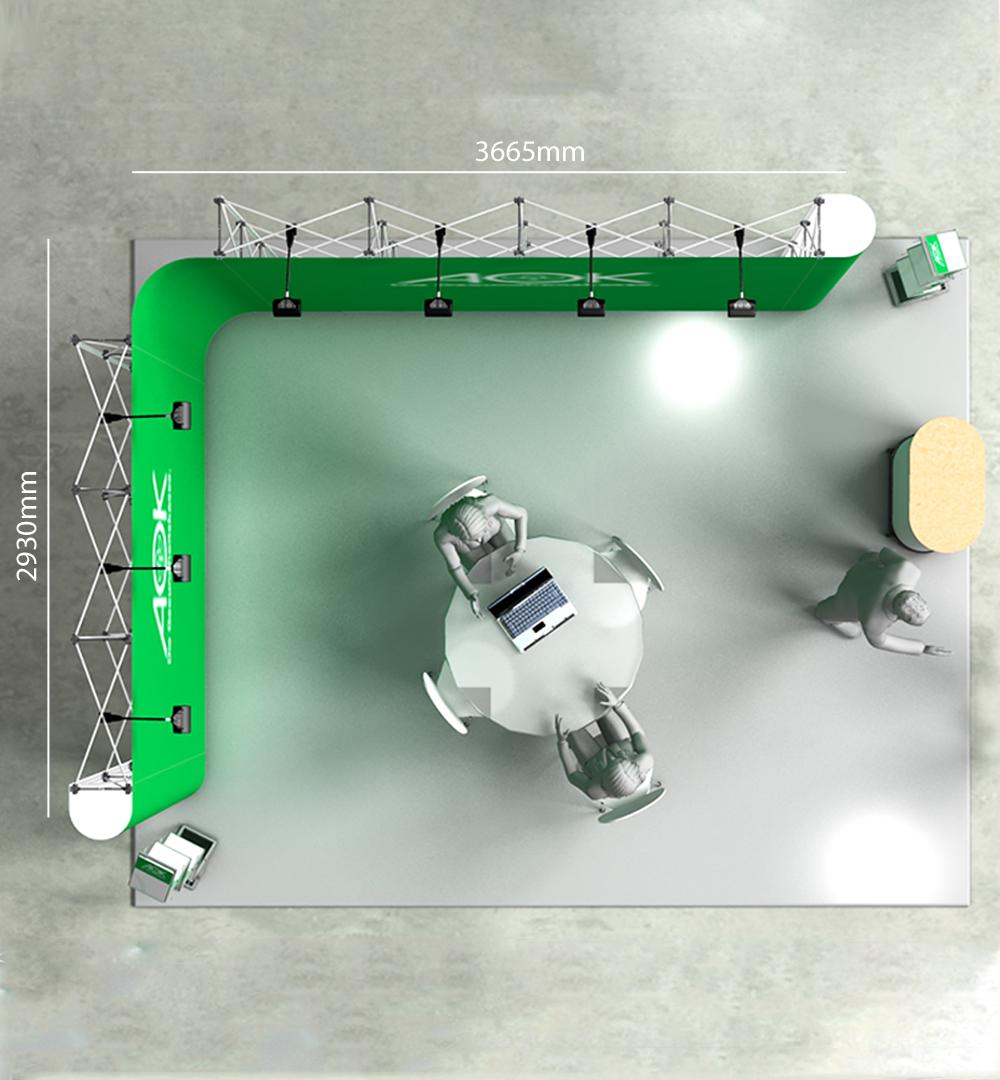 Mobiler Messestand L2 Form - Abmessungen