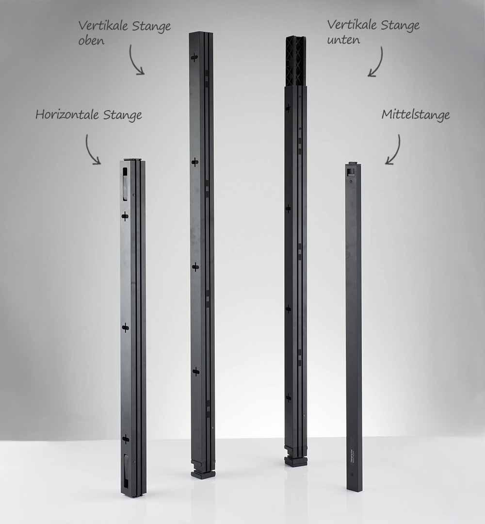 Messestand Multi-Frame - Stangen Übersicht