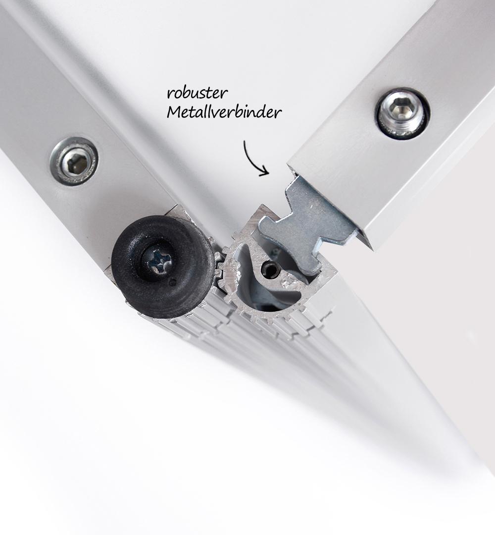 Aufsatz Rechtecktheke - robuster Metallverbinder