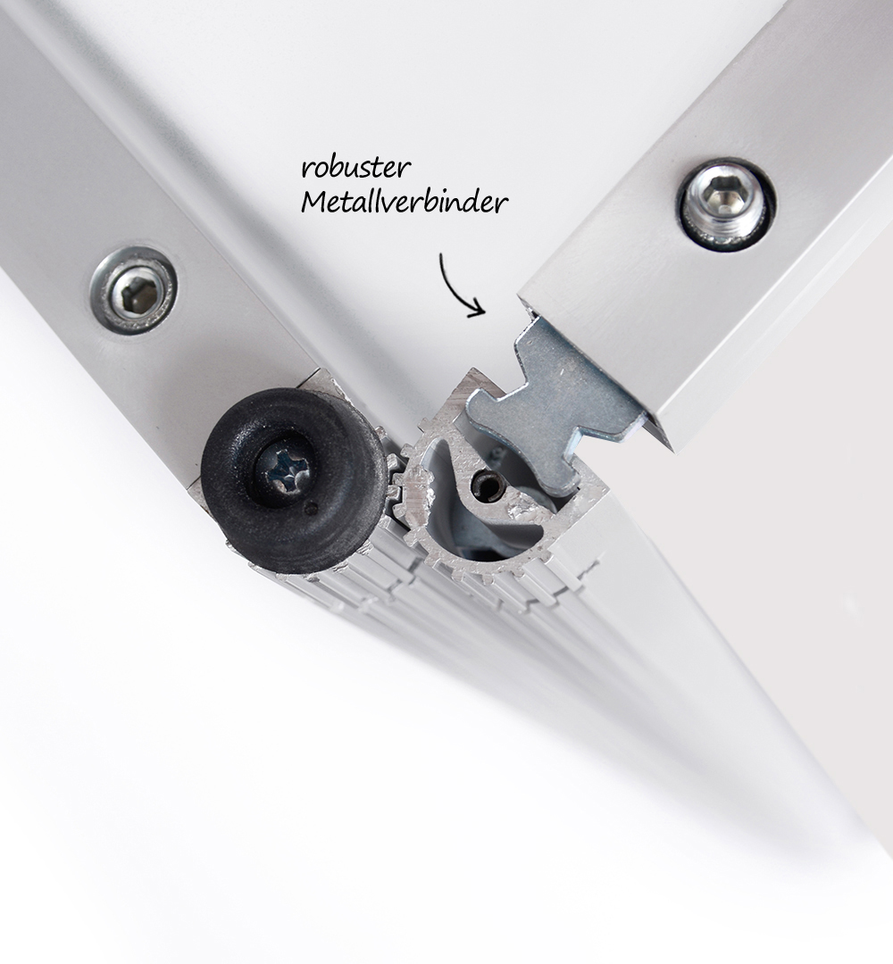 Messeset 304 - Halbrundtheke Groß robuster Metallverbinder