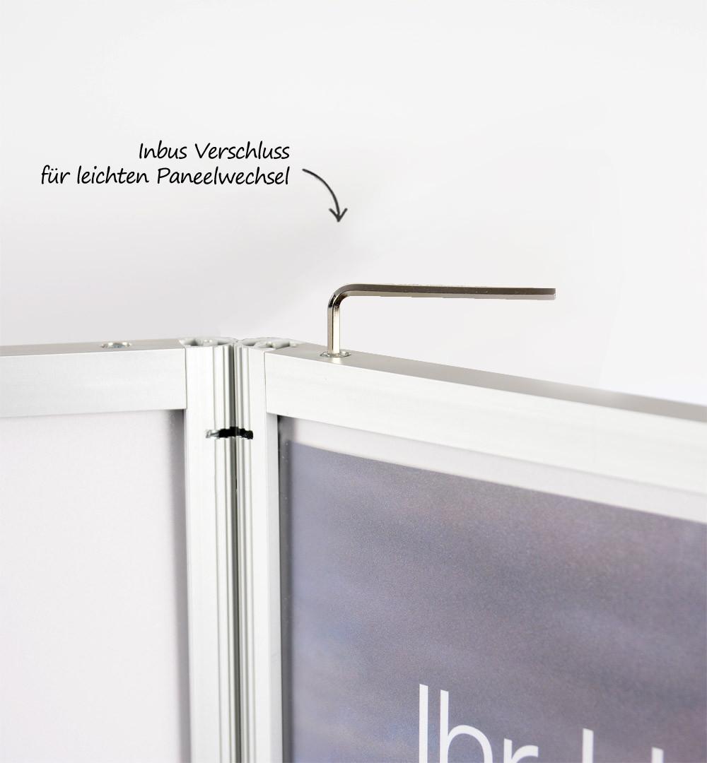 Vitrinen Rechtecktheke Türen mit Schloss - Paneelwechsel