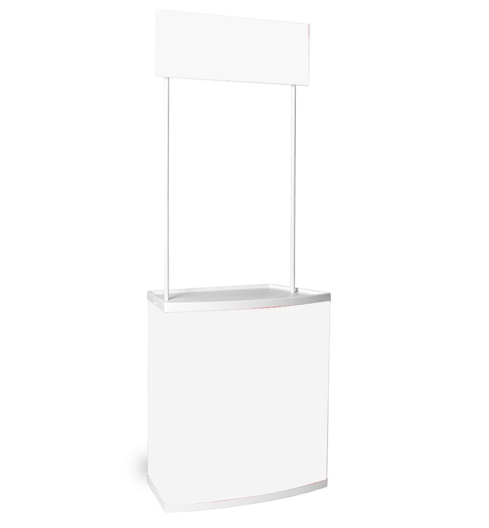 Promo Kunststofftheke - mit Topschild Druckpaneele weiß