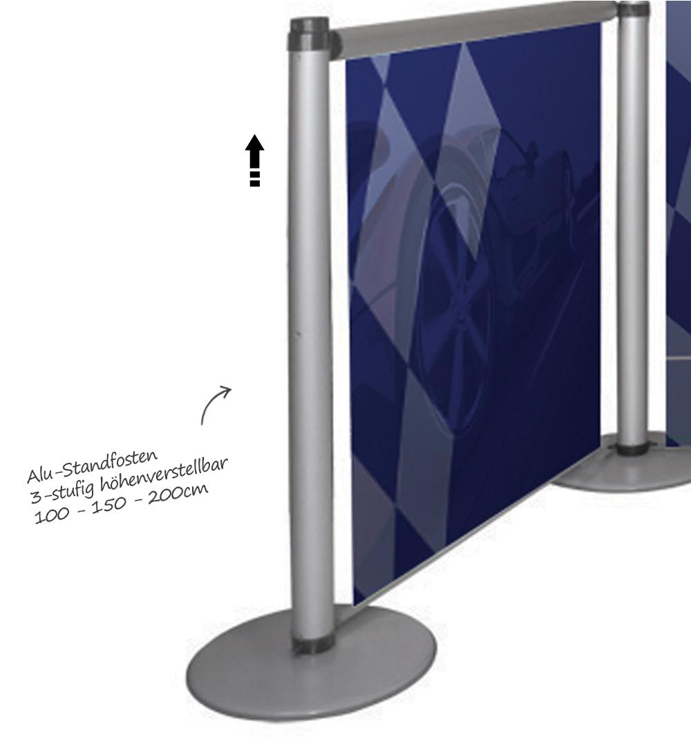 Roll-Up Modular - Alu-Standpfosten höhenverstellbar