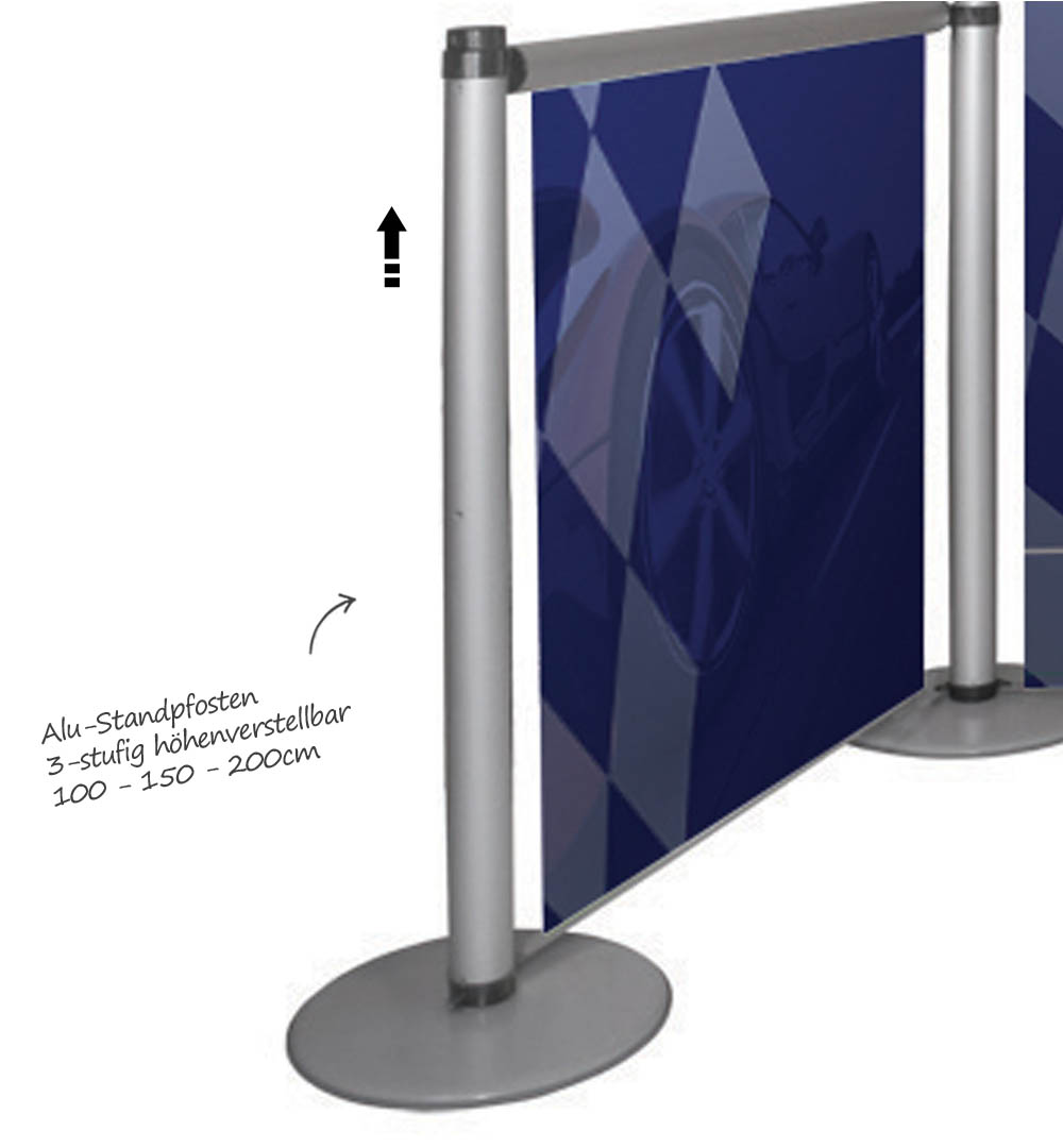 Messestand Roll-Up Modular - Alu-Standpfosten höhenverstellbar