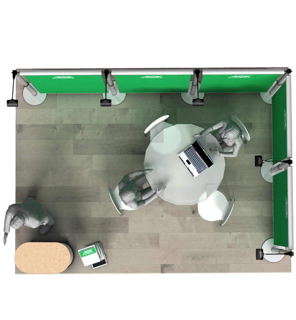 Messestand Roll-Up Modular L2 Form - Draufsicht