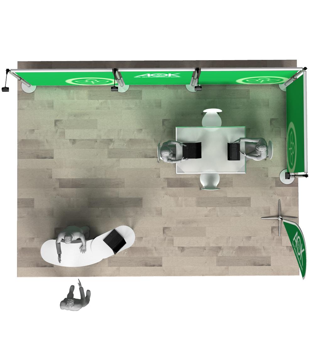 Messestand Roll-Up Modular L4 Form - Draufsicht