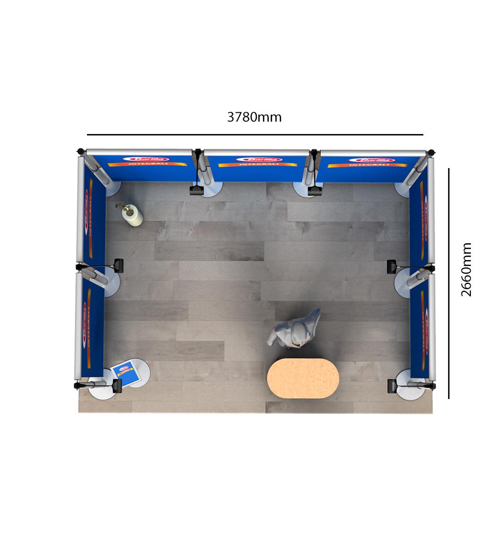 Messestand Roll-Up Modular U2 Form - Abmessungen