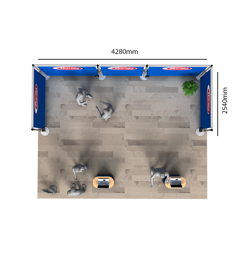 Messestand Roll-Up Modular U4 Form - Abmessungen