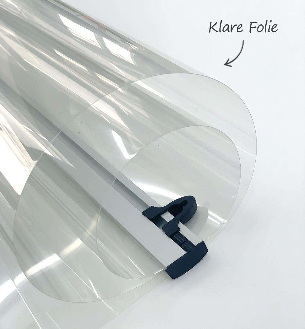 Spuckschutz Deckenhänger - Klare Folie mit Klemmleisten Folie