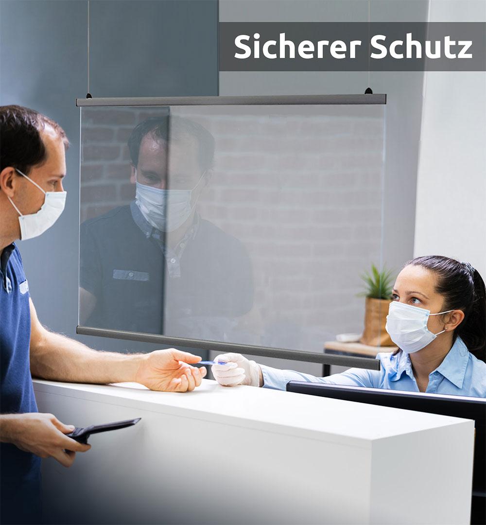 Spuckschutz Deckenhänger - Klare Folie mit Klemmleisten
