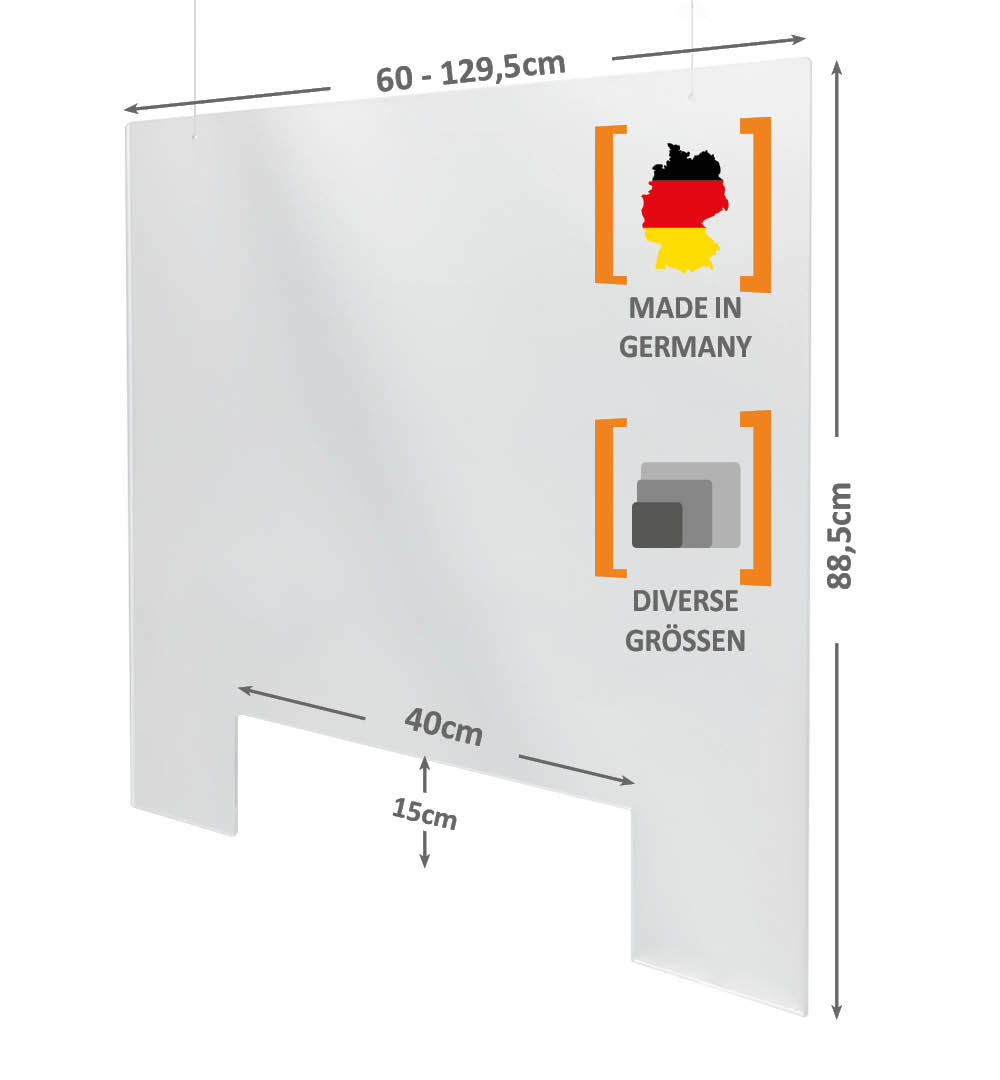 Spuckschutz Deckenhänger Acrylglas Abmessungen