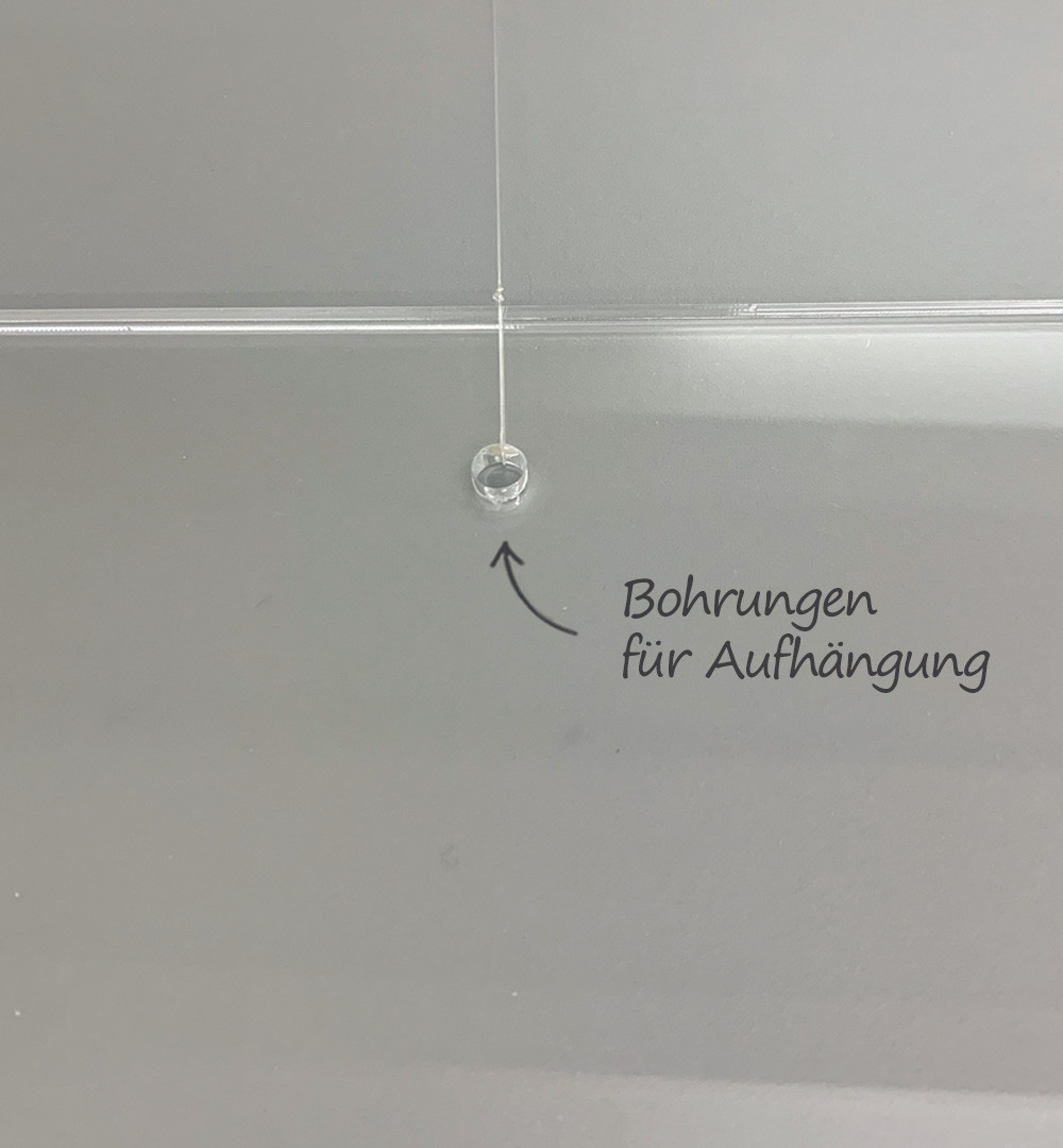 Spuckschutz Deckenhänger Acrylglas Bohrung