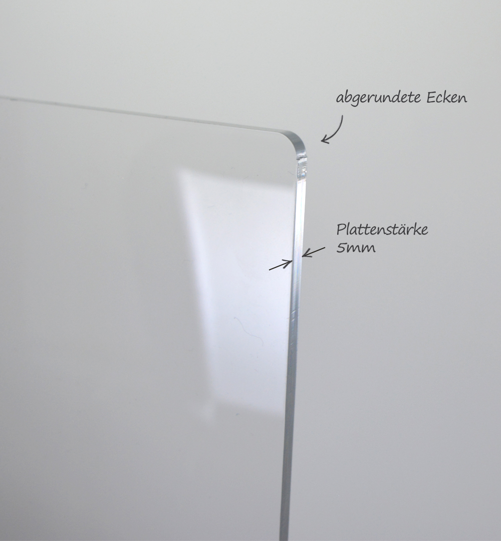 Spuckschutz Groß für Rechtecktheke 50 x  88,5 cm