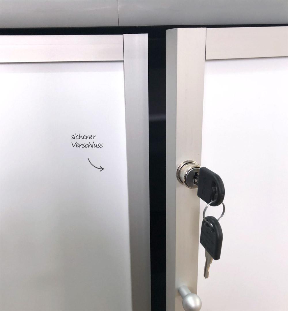 Vitrinen Rechtecktheke Türen mit Schloss - Verschluss