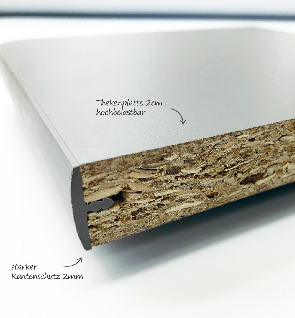 Aufsatz Rechtecktheke Groß - Thekenplatte 2cm hochbelastbar