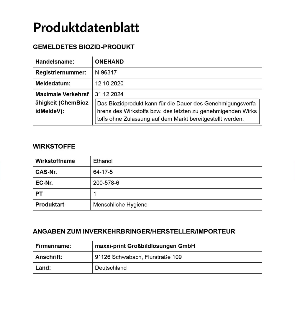 Händedesinfektionsmittel ONEHAND - Produktblatt