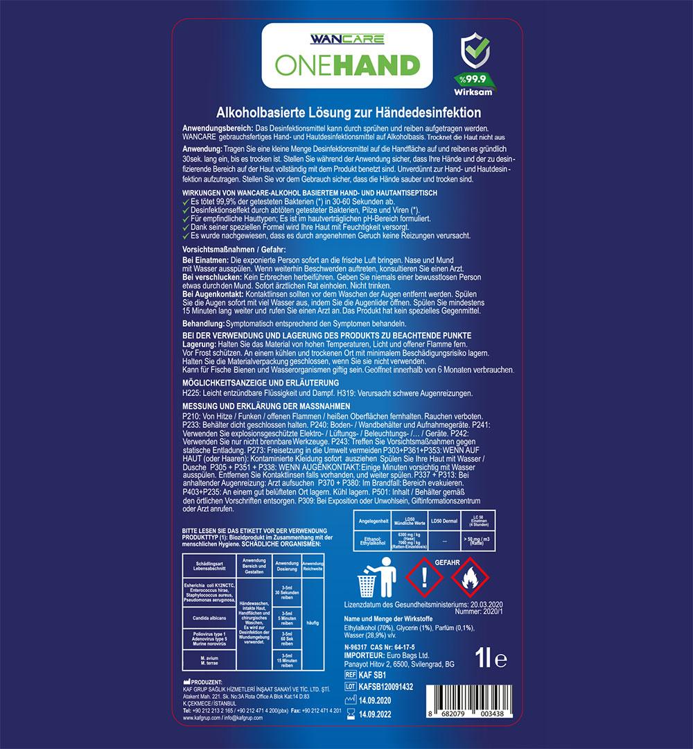 Händedesinfektionsmittel ONEHAND - Etikett