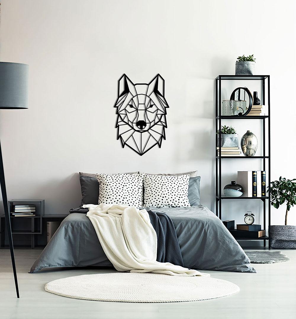 Wall Art Acryl Polygon Wolf Front