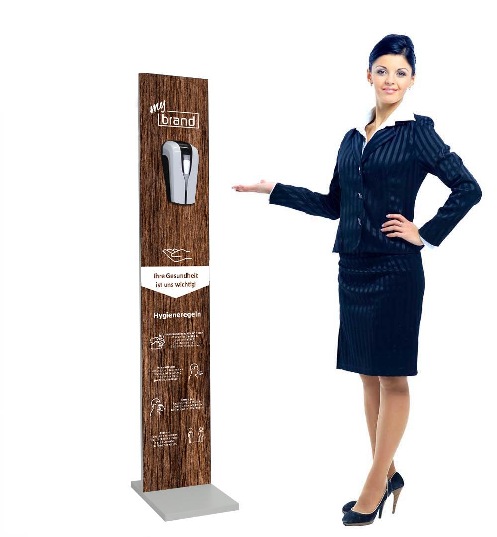 Desinfektionsständer Wood mit Sensor Printed Logo Holz - live
