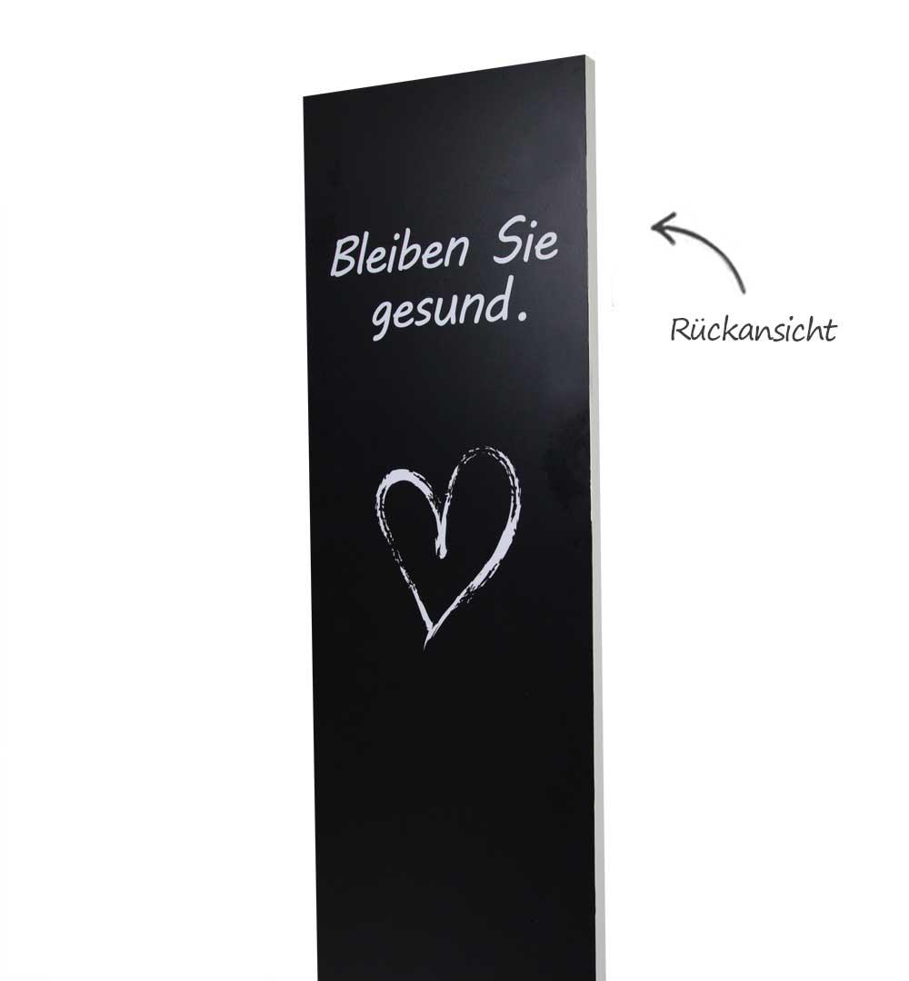 Desinfektionsständer Wood mit Sensor Printed Logo schwarz - Rückansicht
