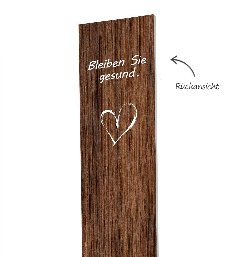 Desinfektionsständer Wood mit Sensor Printed Logo Holz - Rückseite