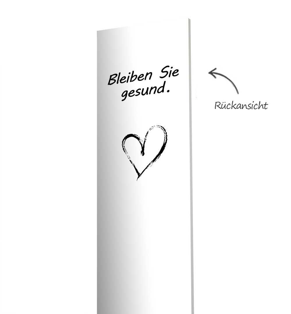 Desinfektionsständer Wood mit Sensor Printed Logo Weiß - Rückseite